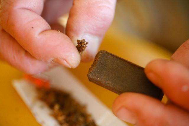 Preparing Hashish for Smoking